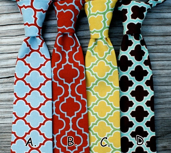 Little Boys Ties -- Lattice Ties -- Red and Blue Ties -- Yellow and Green Ties -- Mint Green Necktie