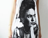 Frida Kahlo Mexican Painting Artist White T-Shirt Mini Dress Women Size S M