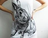 Bunny Rabbit Cute Animal White Vest Shirts Tank Top Tunic Women Size S M