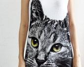 Kitty Cat Cute Animal Lovely Pet Rock White Mini Dress T Shirts Women Size S M