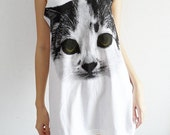 Kitten Kitty Cat Rock White Tank Top T-Shirt Women Size M