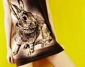 Bunny Rabbit Cute Animal Art Charcoal Black Vest Shirts Tank Top Tunic Women Size S M
