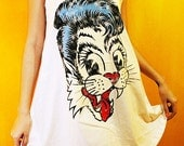 Stray Cats Rockabilly Jazz Rock Art White Mini Dress Tank Top T-Shirt Women Size M L