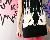 X-RAY Hands Handcuff Prison Artist Indie Rock Black T-Shirt Mini Dress Women Size S M