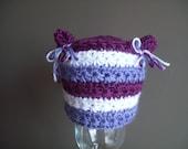 Newborn Purple and white Kitty Hat