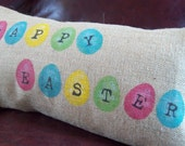 Easter Pillow Cover, Happy Easter Hand Painted Burlap Pillow Cover, Rustic Easter Decorations, Farmhouse Easter Decor, Easter Egg Pillow