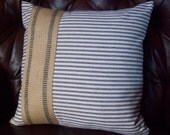 Ticking Pillow Cover - Jute Accent 16 x 16 to 24 x 24 - Decorative Pillow - Blue or Red Ticking - Nautical Pillow - Striped Coastal Pillow