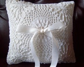 Ivory Ring Bearer Pillow - Vintage Crocheted Lace  - Classic and Elegant / READY TO SHIP