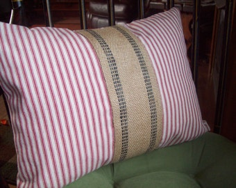 Ticking Stripe Pillow Cover, Red or Blue with Jute Accent 12 x 16, Striped Decorative Pillow, Nautical, Coastal Pillow, Farmhouse Home Decor