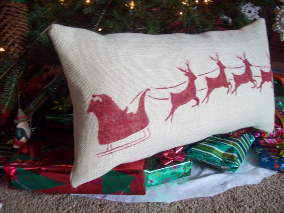 Christmas Pillow - STUFFED Burlap Pillow - Santa and Reindeer Silhouette - Holiday Decor