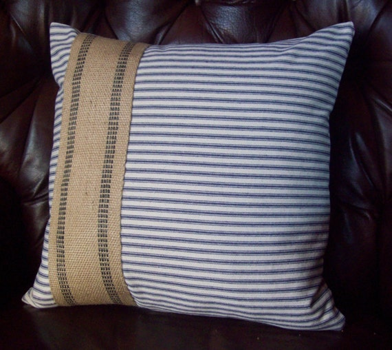 Ticking Pillow Cover, Jute Accent, 16 x 16 to 24 x 24, Decorative Pillow, Blue or Red Ticking - Nautical Pillow - Striped Coastal Pillow