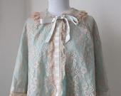 Vintage Odette Barsa blue & nude bed jacket