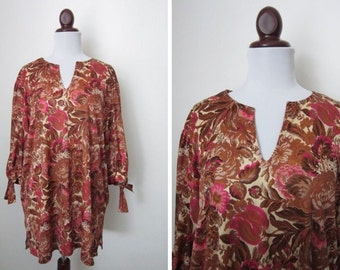 70's Floral Cover-up Beach Dress