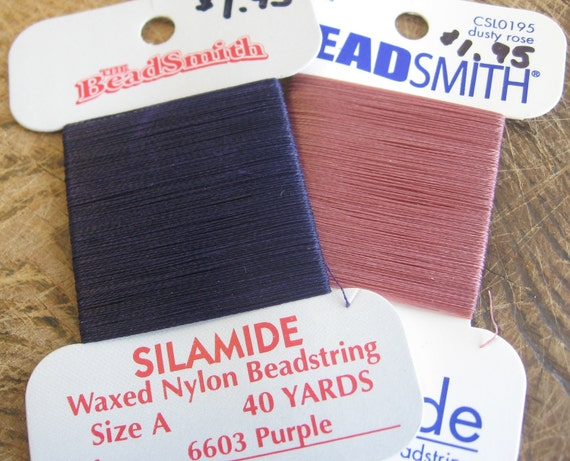 waxed nylon beading thread - plum rose combo - silamide A 40 yds
