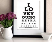 I love you more than all the stars - Eye Chart Print