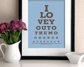 "Kids Room wall art decor Eye Chart Print ""I Love You to the Moon and Back"" (light blue & brown)- Eye Exam Chart Print"