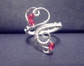 Red Sweetheart adjustable ring - wire jewelry