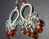 Filigree Earrings in red and Silver   Wire Wrapped Jewelry