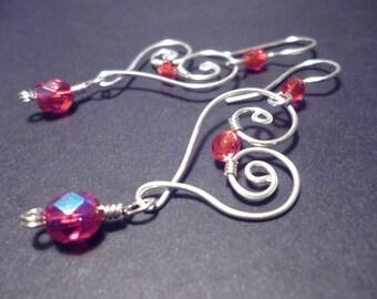 Red Sweetheart earrings - wire jewelry