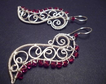 Swarovsky Earrings in red and Silver   Wire Wrapped