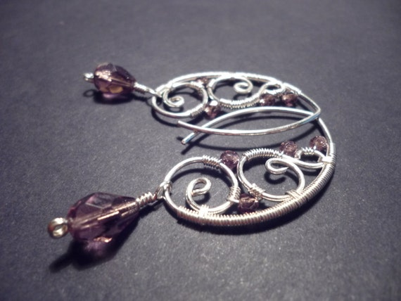 Earrings in purple and silver  - Wire Wrapped Jewelry