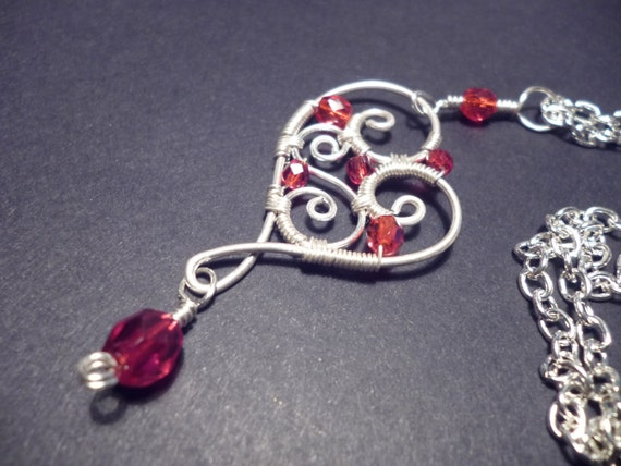 Red Sweetheart pendant  wire wrapped jewelry