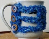 Cup Cozy - Hot or Cold hand protector, Soft blue, with vintage button detail
