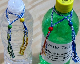 Bottle Tags - Set of 4 markers to identify and personalize your water, beer or soda pop bottle.