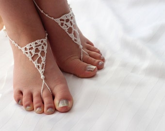 """Barefoot Sandals - Wedding footwear, jewellery, anklet-toe-ring """"Here comes the Bride"""""""