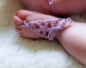 Barefoot Sandals for baby - crochet jewelry, infant girl, pretty accessory