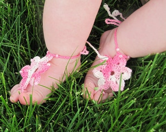 Barefoot Sandals for baby - crochet jewelry, infant girl, pretty accessory, FLOWER design