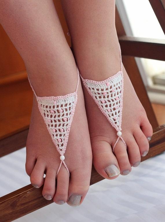 "Barefoot Sandals - Wedding footwear, jewellery, anklet-toe-ring ""Blushing Bride""."