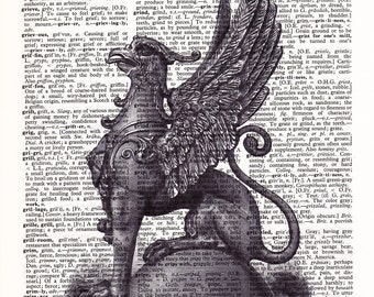 Steampunk Griffin  - Printed Book Page