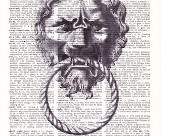 Steampunk Lion Knocker  - Printed Book Page
