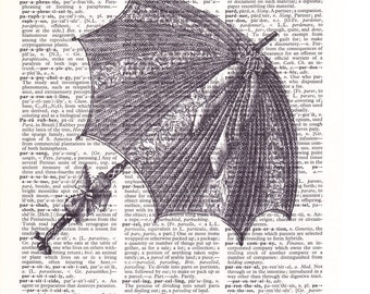 Steampunk Umbrella - Printed Book Page