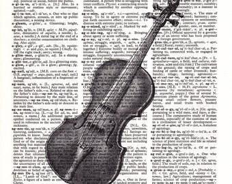 Steampunk Violin- Printed Book Page