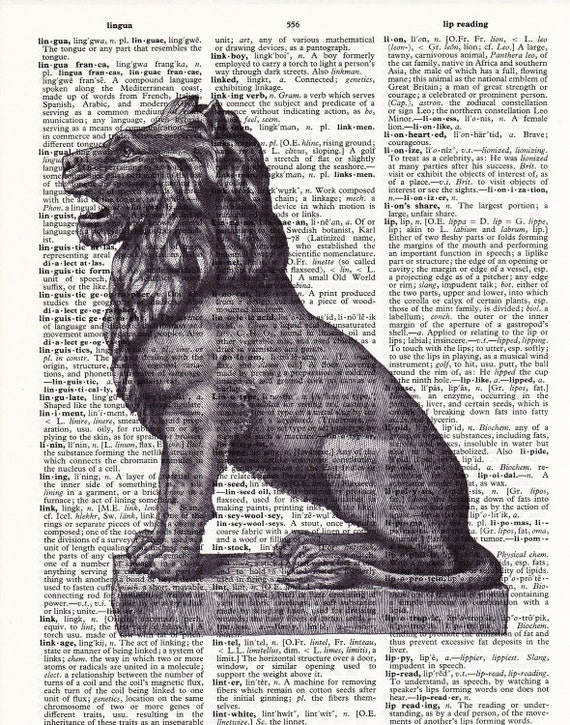 Steampunk Lion Statue  - Printed Book Page