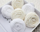 Rolled Rosette Cream and White Fabric Rosettes 1.5 inches Set of 6 Flower Embellishments