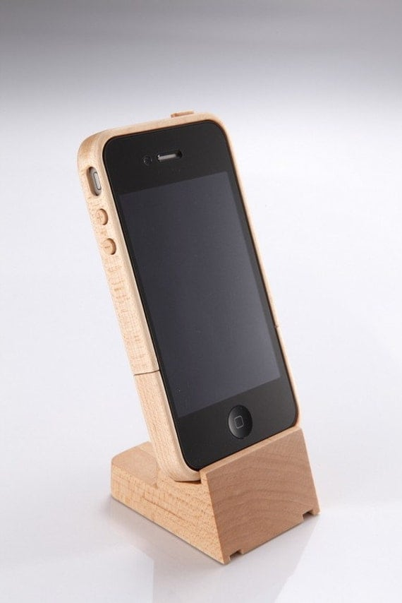 Iphone maple wood case stand nib