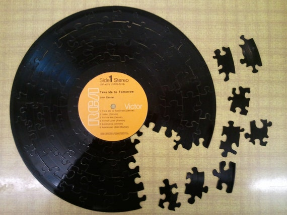 Vintage LP Record Puzzle, JOHN DENVER, Take Me To Tomorrow - 70 pieces, Handcrafted, Repurposed