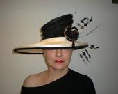 Stylish black and white Ascot hat