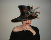 Black Ascot hat with Lady Amherst trim