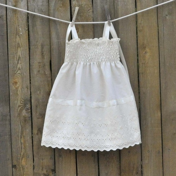 Vintage Embroidered Eyelet Baby Dress Cream Ivory or