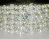 """Bridal Wedding Jewelry Necklace Crochet Choker Pearls and Crystals """"The Victoria"""""""