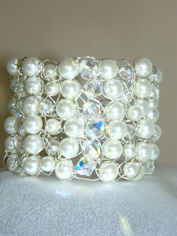 "Wedding Jewelry Bridal Bracelet Pearls and Crystal Wire Crochet Cuff ""The Victoria"""