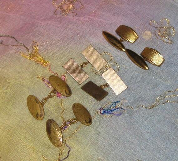 Three Pairs Vintage Chain Linked Cufflinks, 1920s/1940s