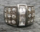 Vintage Art Deco Rhinestone Silver Ring