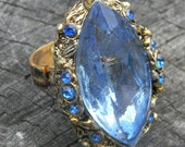 Vintage Czech Blue Glass Ring