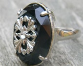 Vintage Black Acrylic and Silver Ring with Ornate Silver Design