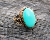 Vintage Turquoise Poison Ring